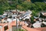 Favelas in Rio de Janeiro - TV satellite dishes in a favela